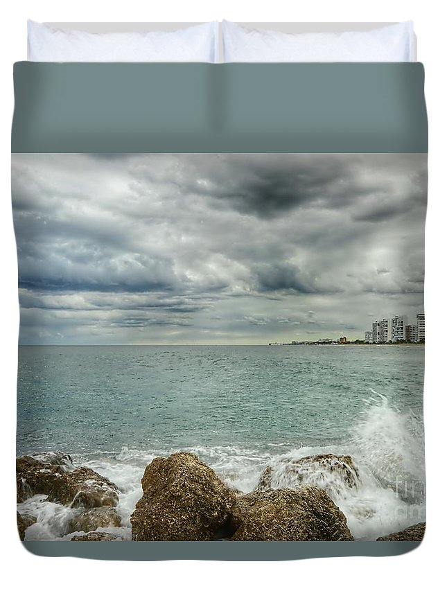 Landscape Duvet Cover featuring the photograph Jetty Rocks 6 by Glenn Forman