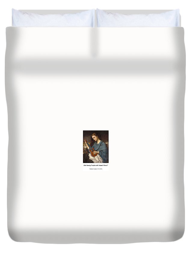 Altered Art Duvet Cover featuring the digital art Jeune Femme Cousant by John Saunders