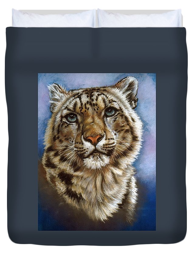 Snow Leopard Duvet Cover featuring the pastel Jewel by Barbara Keith