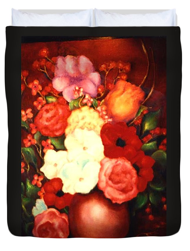 Flowers Duvet Cover featuring the painting Jewel Flowers by Jordana Sands