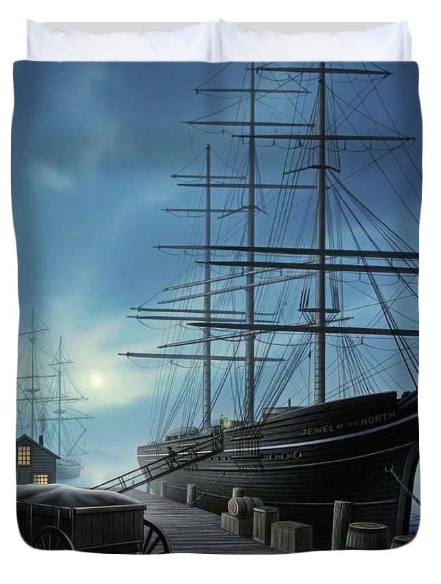 Ship Duvet Cover featuring the painting Jewel of the North by Jerry LoFaro