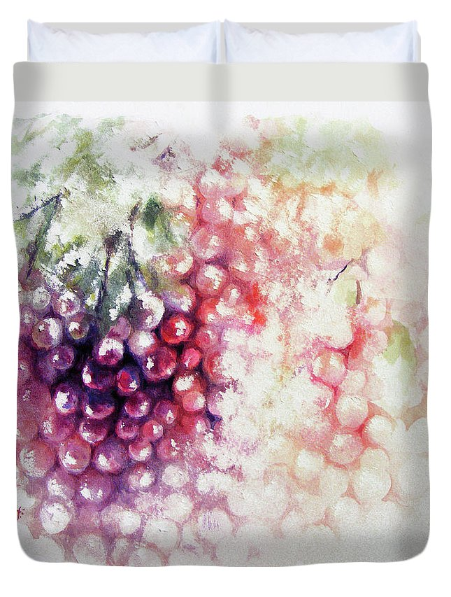 Grapes Duvet Cover featuring the painting Jewels On The Vine by Rachel Christine Nowicki