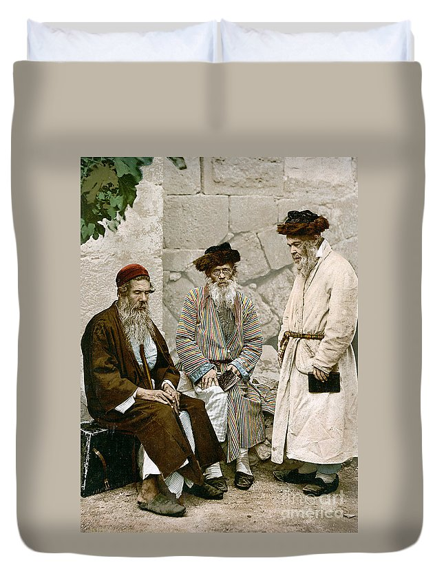 1900 Duvet Cover featuring the photograph Jews In Jerusalem, C1900 by Granger