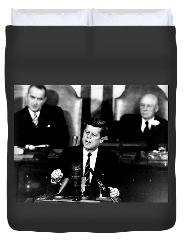 Jfk Duvet Cover featuring the photograph Jfk Announces Moon Landing Mission by War Is Hell Store