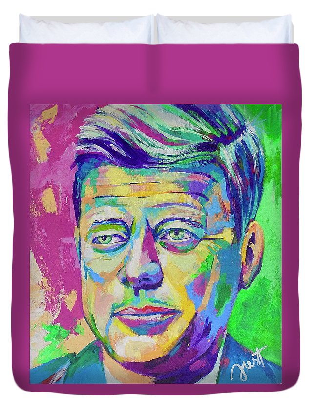 Janice Westfall Duvet Cover featuring the painting JFK by Janice Westfall