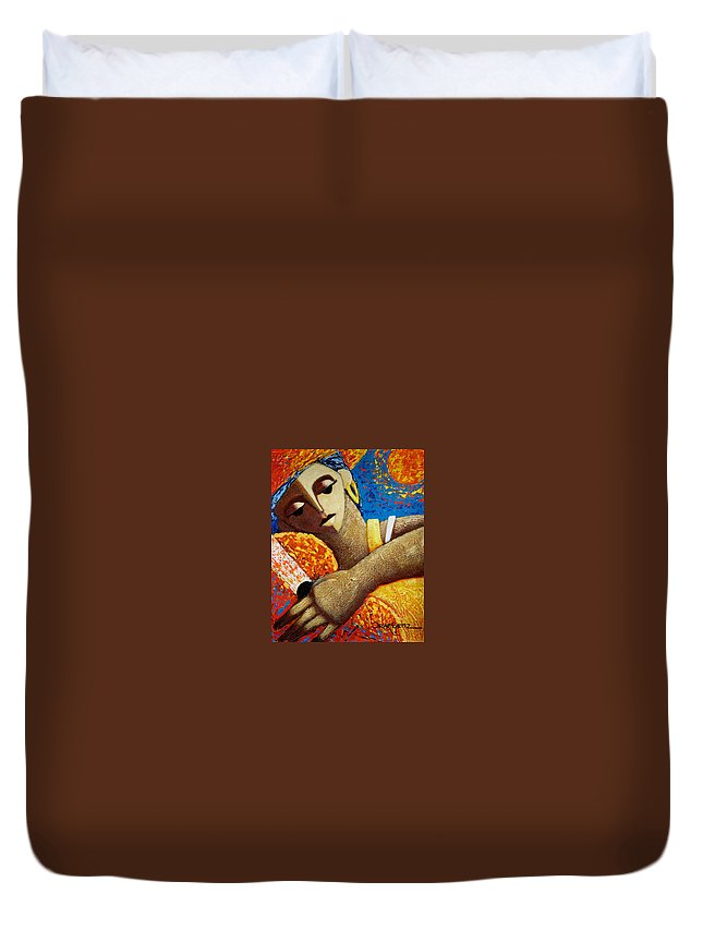 Puerto Rico Duvet Cover featuring the painting Jibara Y Sol by Oscar Ortiz