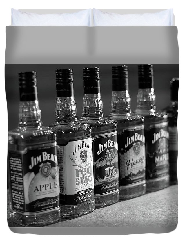 Jim Beam Duvet Cover featuring the photograph Jim Beam Bottles by Denise Williams