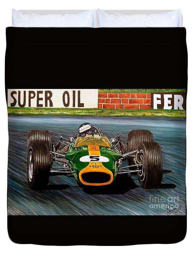 Jim Clark Lotus 49 Duvet Cover for Sale by Jose Mendez