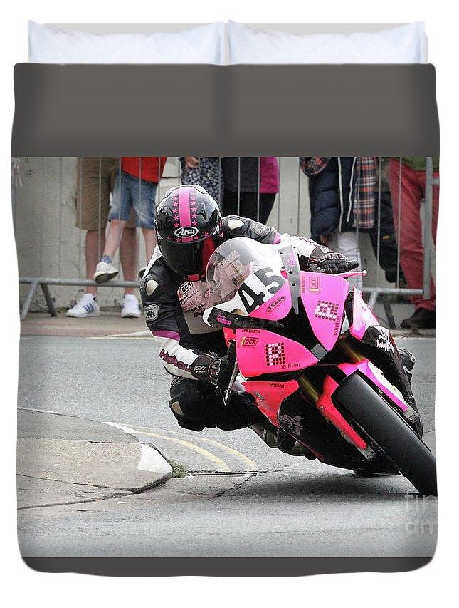 Motorbike Racing Duvet Cover featuring the photograph Jim Hodson 1 by Richard Norton Church