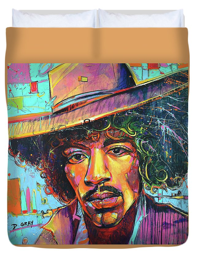 jimi hendrix art painting print canvas duvet cover for sale by damon