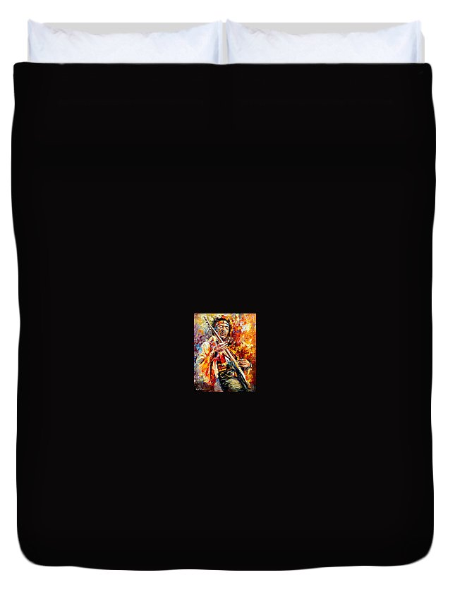 Music Duvet Cover featuring the painting Jimi Hendrix by Leonid Afremov