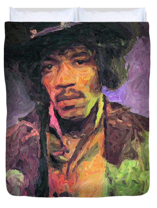 Jimi Hendrix Duvet Cover featuring the painting Jimi Hendrix by Zapista OU