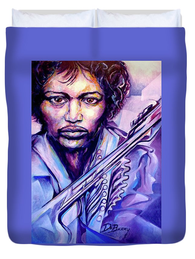 Duvet Cover featuring the painting Jimi by Lloyd DeBerry