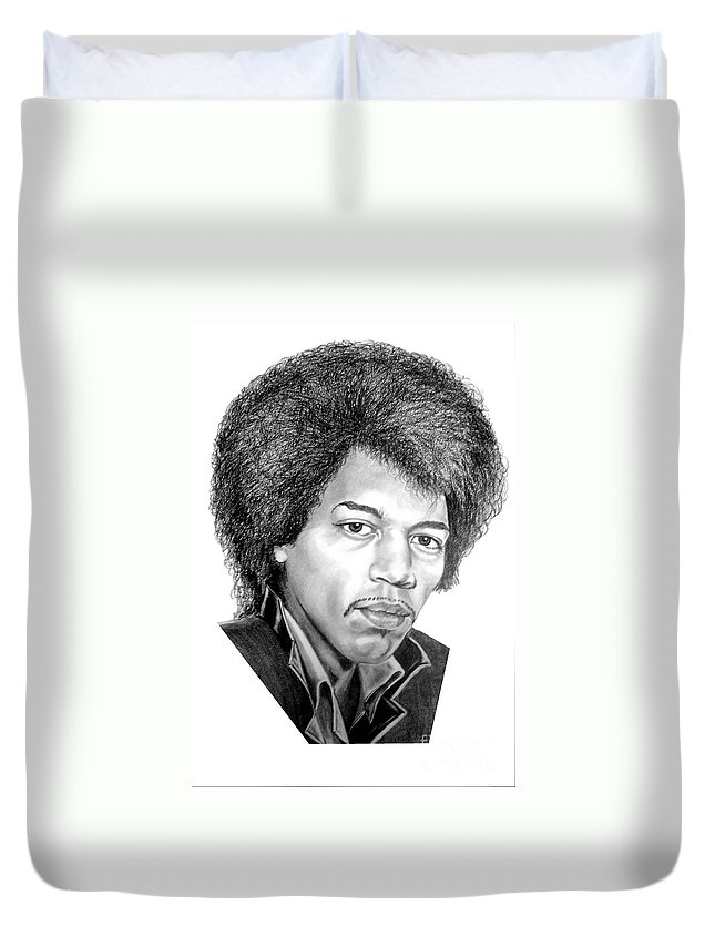 Jimmi Hendrix Duvet Cover featuring the drawing Jimmi Hendrix By Murphy Art. Elliott by Murphy Elliott