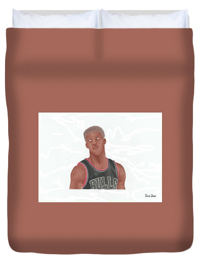 Basketball Duvet Cover featuring the drawing Jimmy Butler by Toni Jaso
