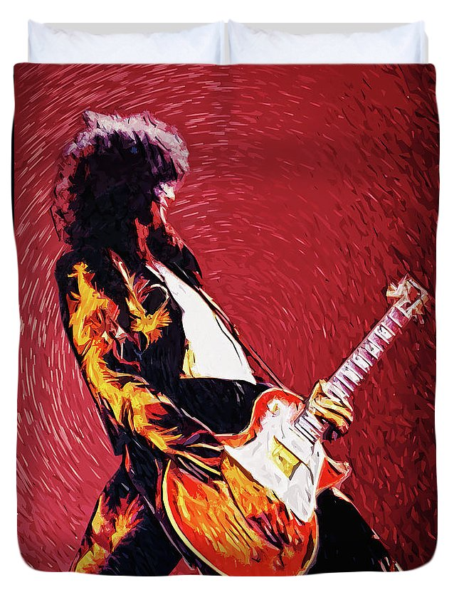 Led Zeppelin Duvet Cover featuring the digital art Jimmy Page by Zapista OU