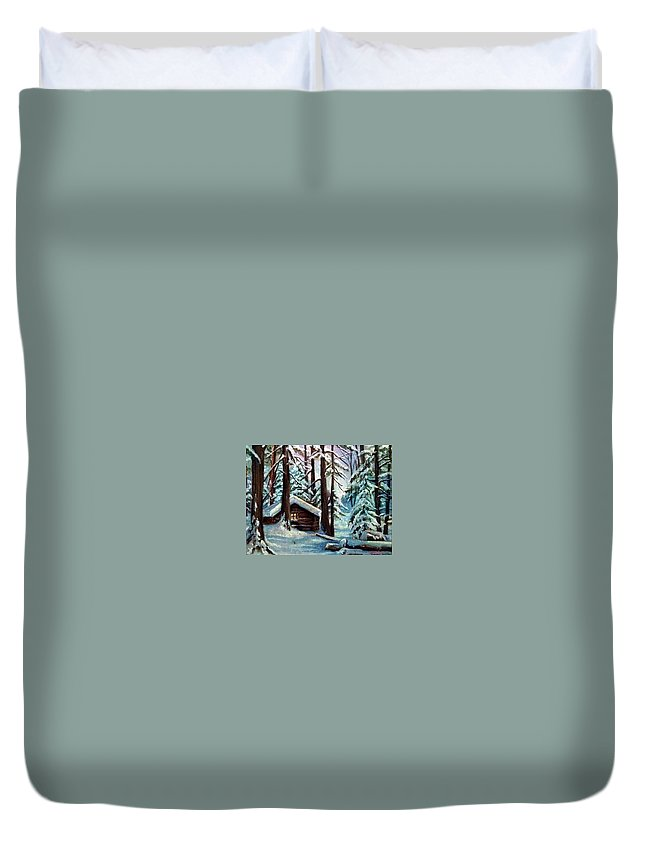 Winter Cabin Duvet Cover featuring the painting Jimmy's Cabin by Janet Lavida