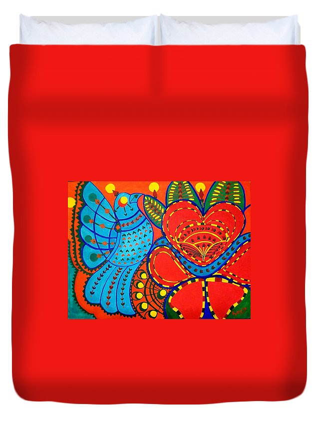 Contemporary Folk Duvet Cover featuring the painting Jinga Bird - Jinga bird by Fareeha Khawaja