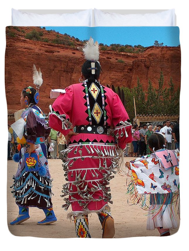Pow-wow Duvet Cover featuring the photograph Jingle Dress And Fancy Shawl Dancers by Tim McCarthy