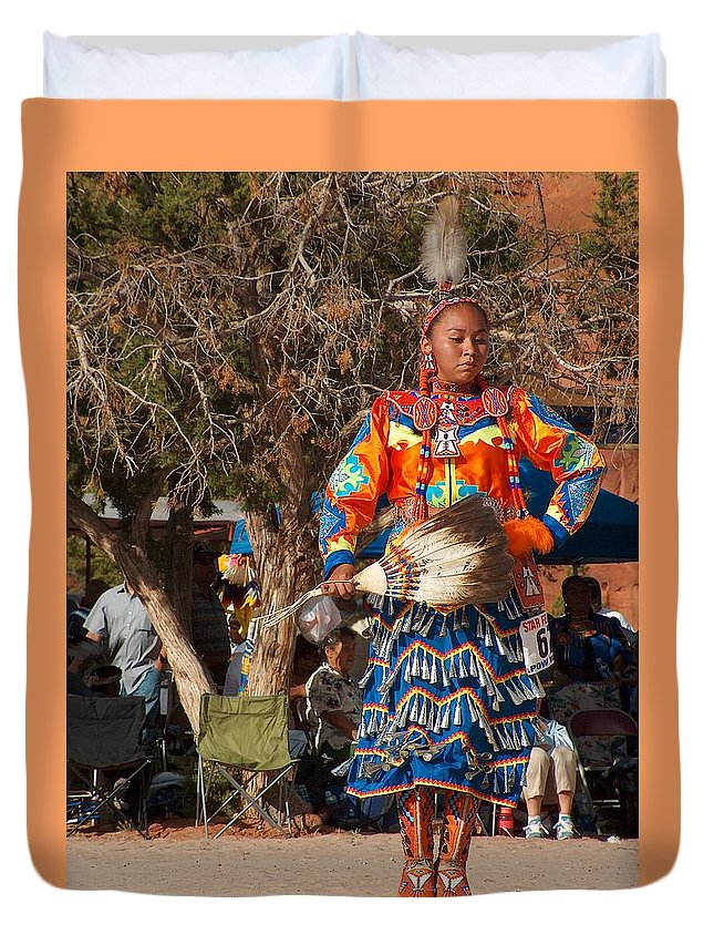 Pow-wow Dancer Duvet Cover featuring the photograph Jingle Dress Dancer At Star Feather Pow-wow by Tim McCarthy