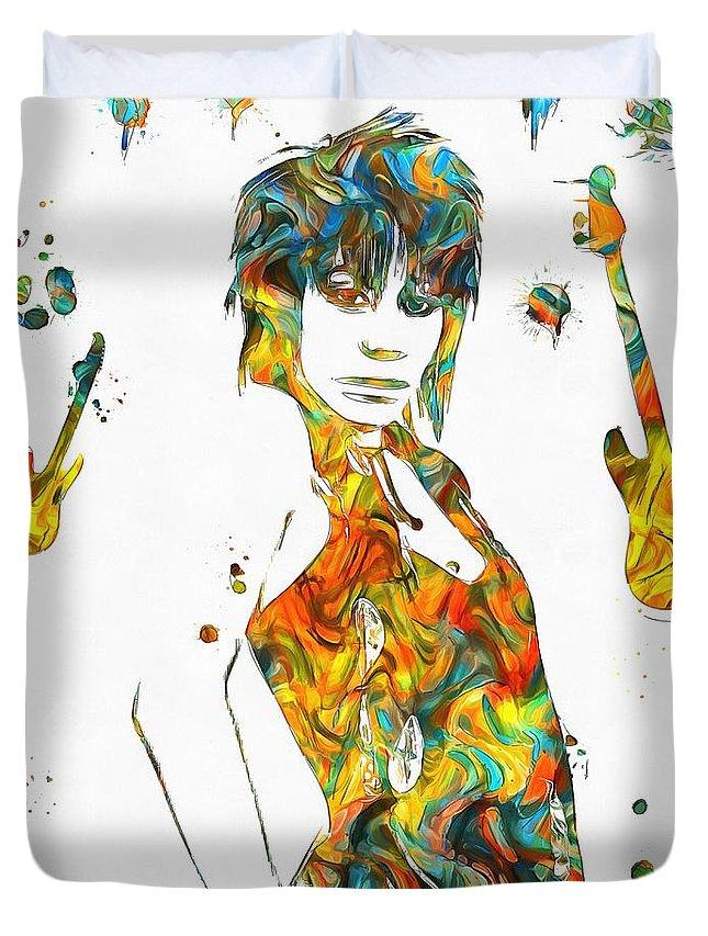 Joan Jett Colorful Paint Splatter Duvet Cover featuring the painting Joan Jett Colorful Paint Splatter by Dan Sproul