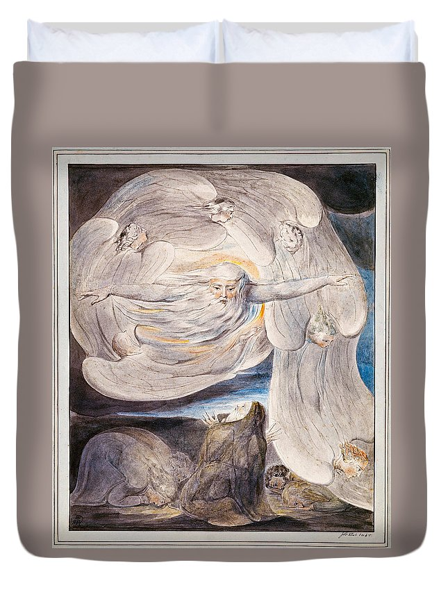 William Blake Duvet Cover featuring the painting Job Confessing His Presumption To God Who Answers From The Whirlwind by William Blake