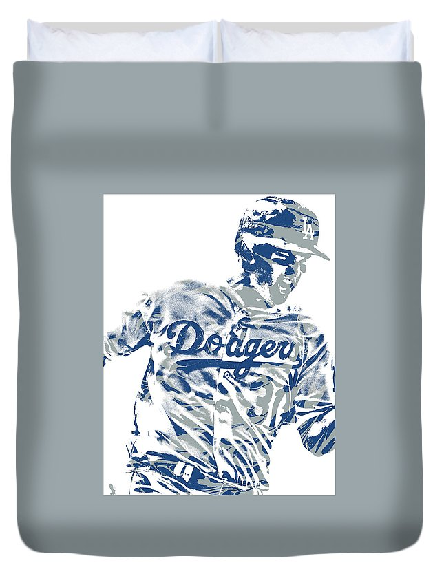 Joc Pederson Duvet Cover featuring the mixed media Joc Pederson Los Angeles Dodgers Pixel Art 10 by Joe Hamilton