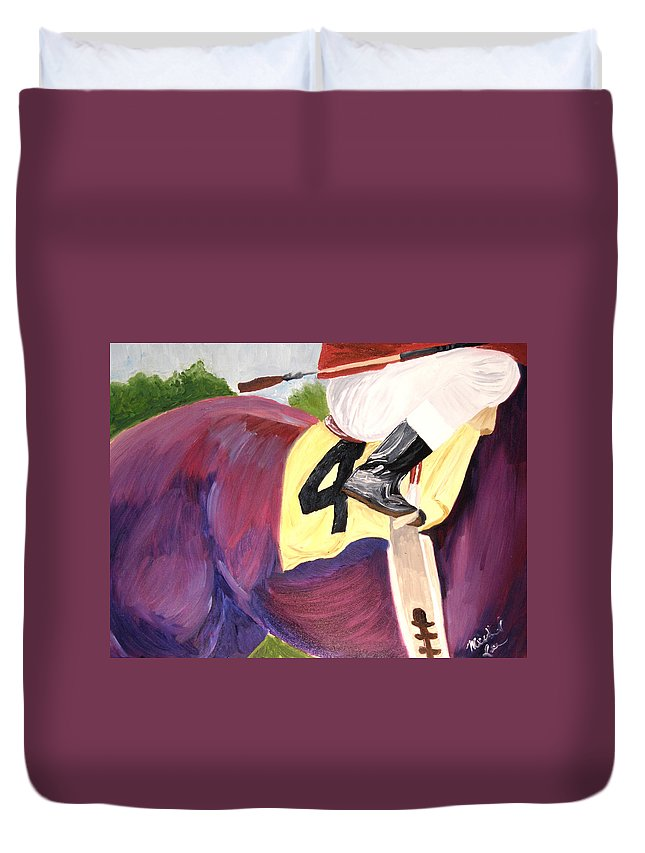 Horse Duvet Cover featuring the painting Jockey 4 by Michael Lee