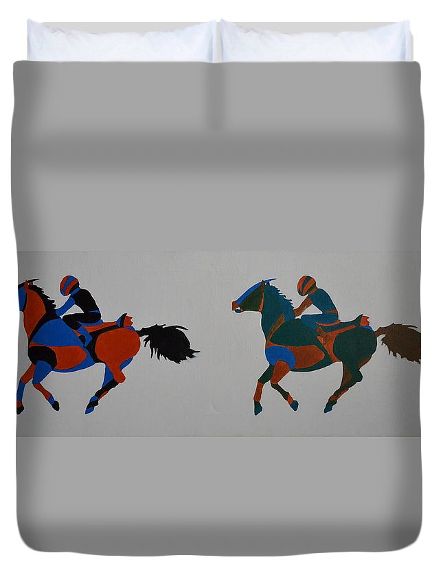 Jockey Duvet Cover featuring the painting Jockey by Vykky Gamble