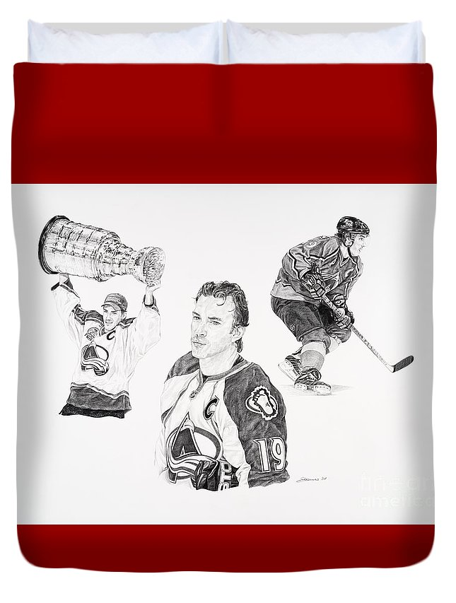 Hockey Duvet Cover featuring the drawing Joe Sakic by Shawn Stallings