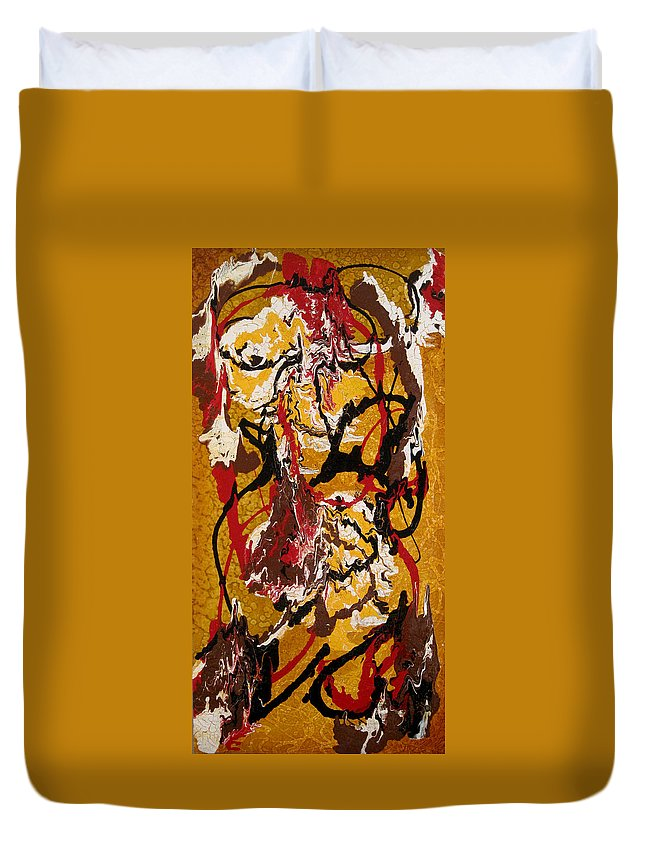 Abstract Art Duvet Cover featuring the painting Joe Sweet by Jill English