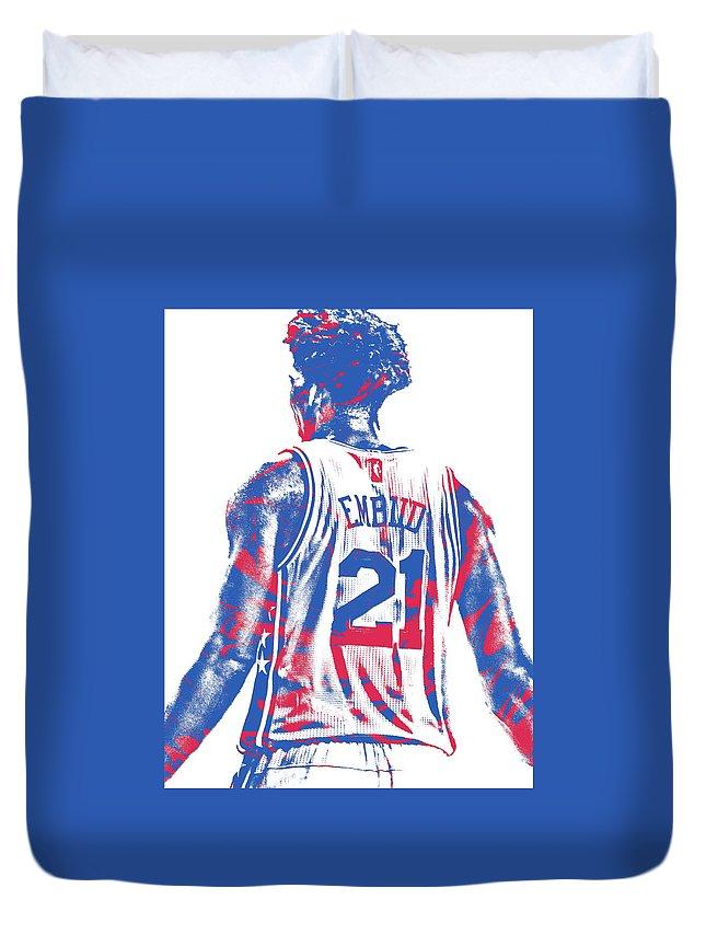 Joel Embiid Duvet Cover featuring the mixed media Joel Embiid Philadelphia Sixers Pixel Art 11 by Joe Hamilton