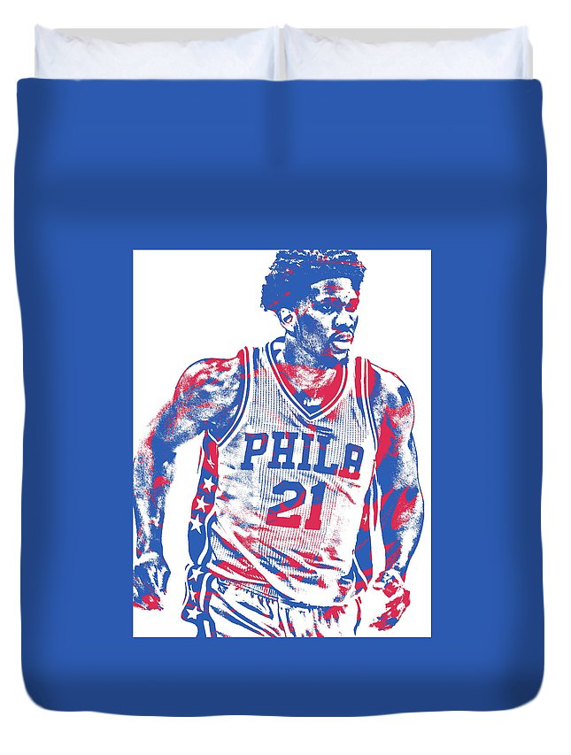 Joel Embiid Duvet Cover featuring the mixed media Joel Embiid Philadelphia Sixers Pixel Art 12 by Joe Hamilton