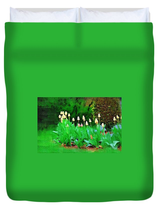 Landscape Duvet Cover featuring the photograph Joe's Tulips by Donna Bentley