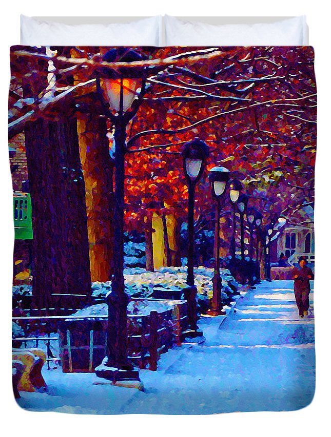Jogging In The Snow Along Boathouse Row Duvet Cover featuring the photograph Jogging In The Snow Along Boathouse Row by Bill Cannon