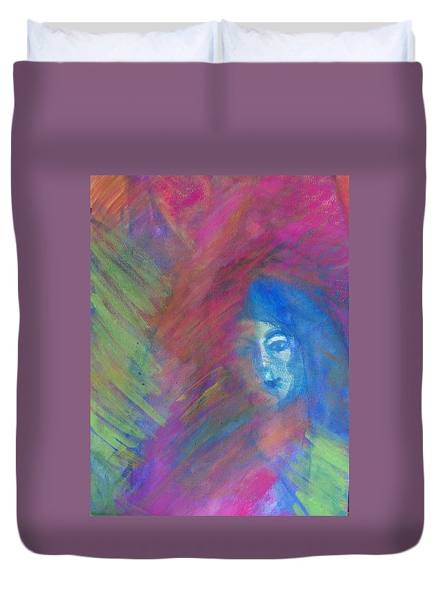 Abstract Duvet Cover featuring the painting Johanna--not Who I Thought by Judith Redman