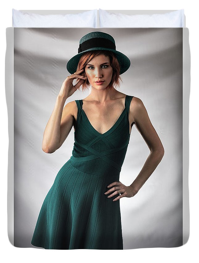 Johanna Dartez Castille. Duvet Cover featuring the photograph Johanne In Green by Gregory Daley MPSA