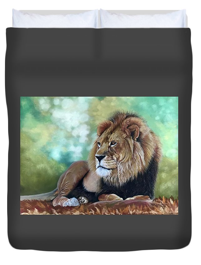 Lion Duvet Cover featuring the pastel Johari by Gayle Newcombe