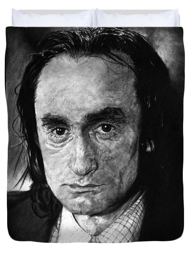 Portrait Man Men Charcoal Art Life Godfather Deer Hunter Dog Day Afternoon Gray Grey Tone John Actor Duvet Cover featuring the drawing John Cazale by Priscilla Vogelbacher