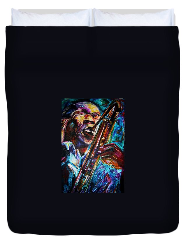 Jazz Duvet Cover featuring the painting John Coltrane by Frances Marino