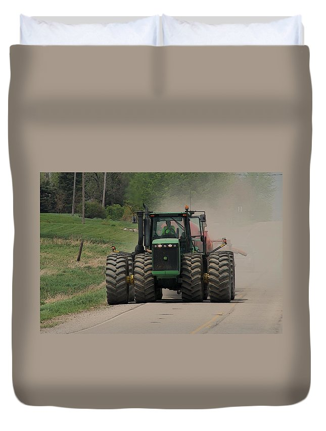 Tractor Duvet Cover featuring the photograph John Deer Tractor by G Berry