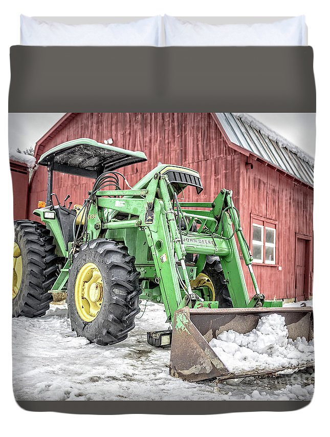 Quechee Duvet Cover featuring the photograph 640 Farm Tractor Vermont by Edward Fielding