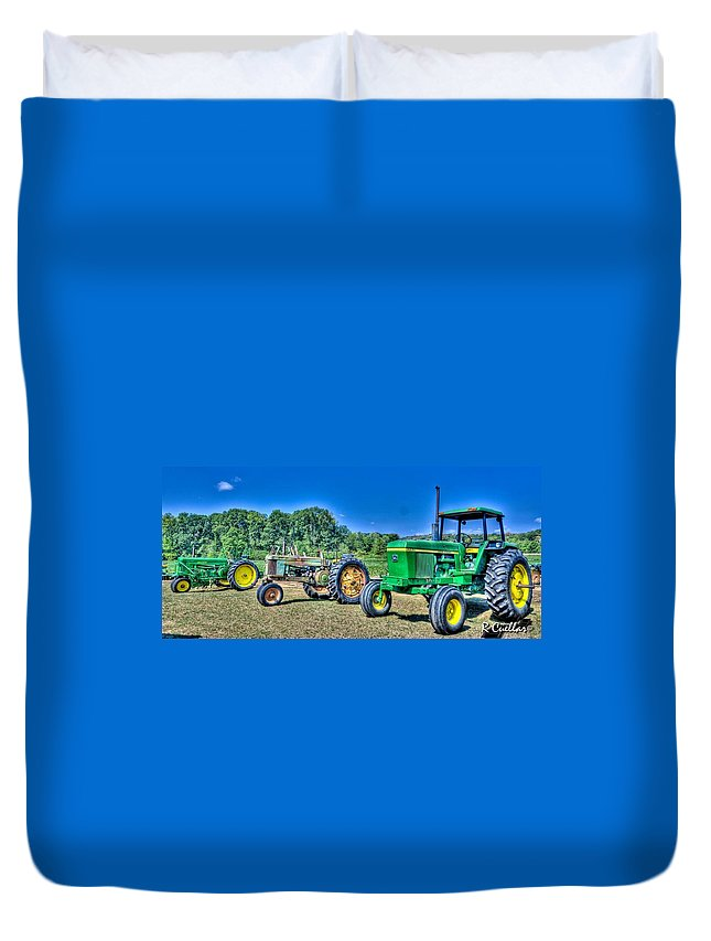 John Deere Duvet Cover featuring the photograph John Deere Lineup by Rod Cuellar