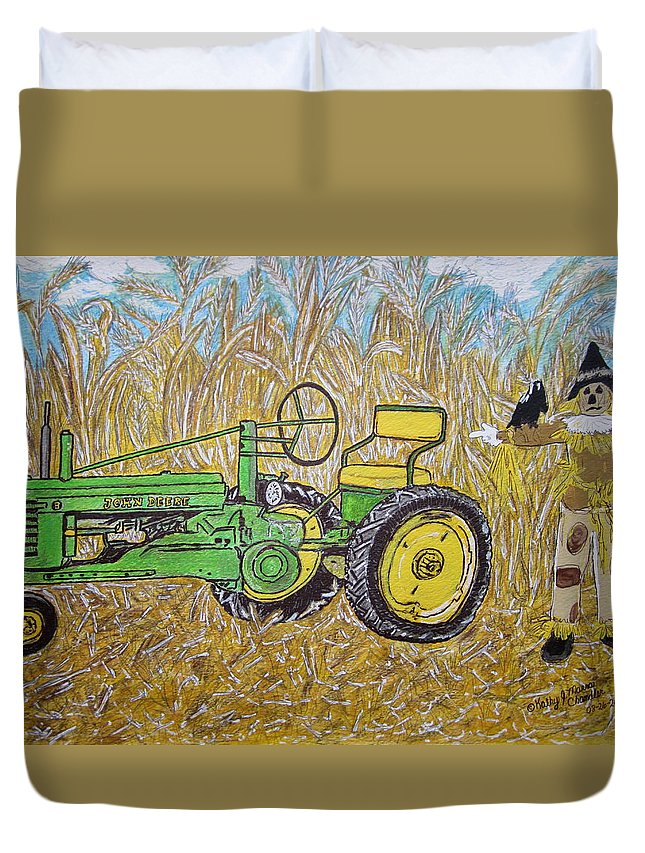 John Deere Duvet Cover featuring the painting John Deere Tractor And The Scarecrow by Kathy Marrs Chandler