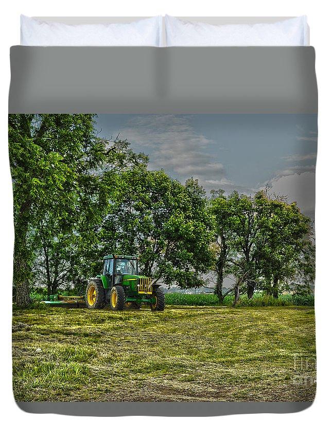 John Deere Duvet Cover featuring the photograph John Deere Tractor At Dusk by Jake Donaldson