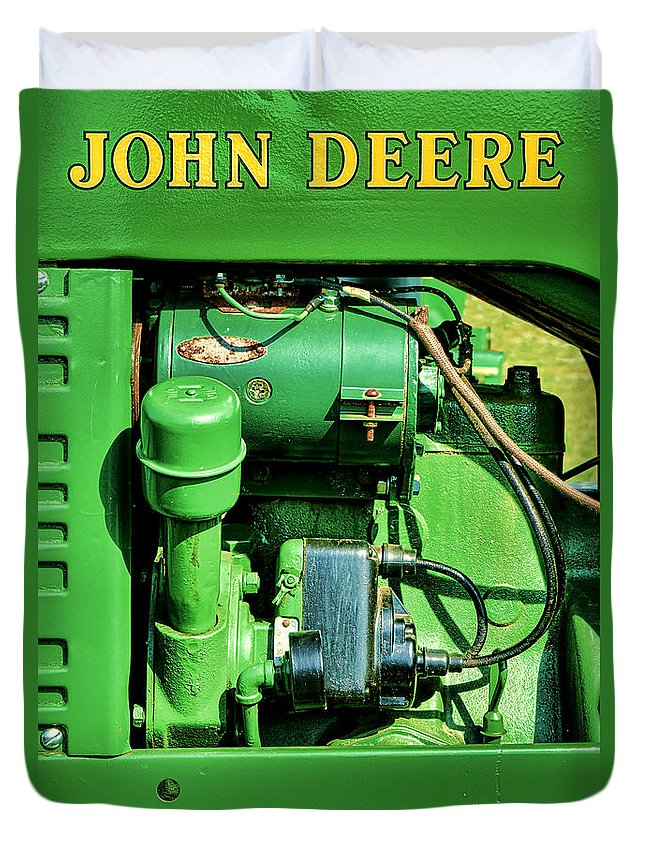 John Duvet Cover featuring the photograph John Deere Tractor Engine Detail by Olivier Le Queinec