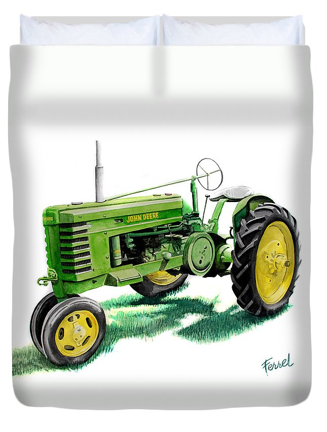 John Deere Tractor Duvet Cover featuring the painting John Deere Tractor by Ferrel Cordle