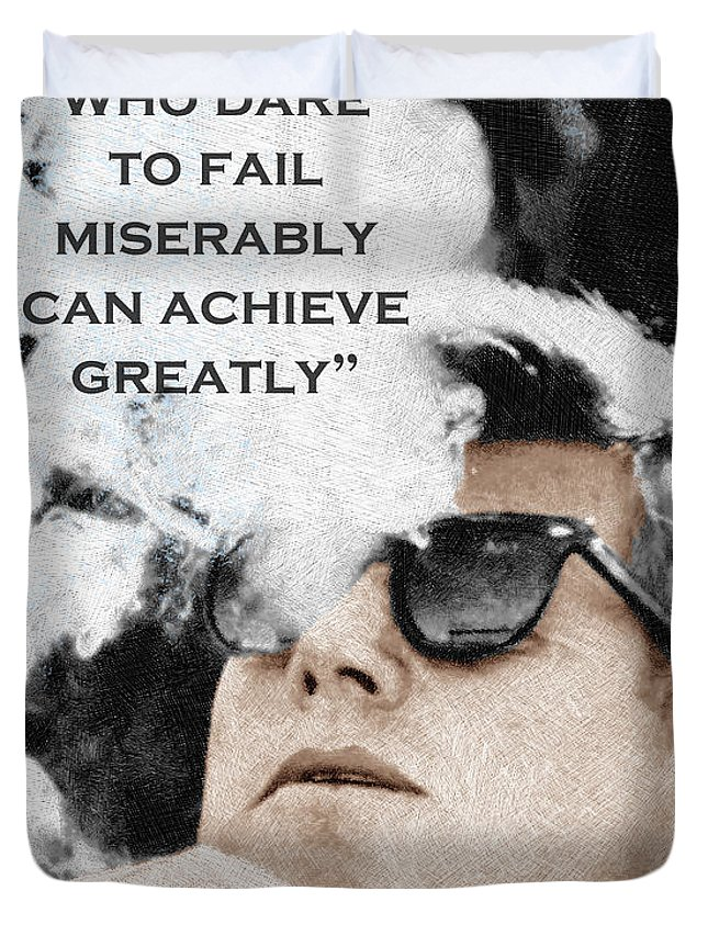 99420df9c9e President Duvet Cover featuring the painting John F Kennedy Cigar And  Sunglasses 3 And Quote by
