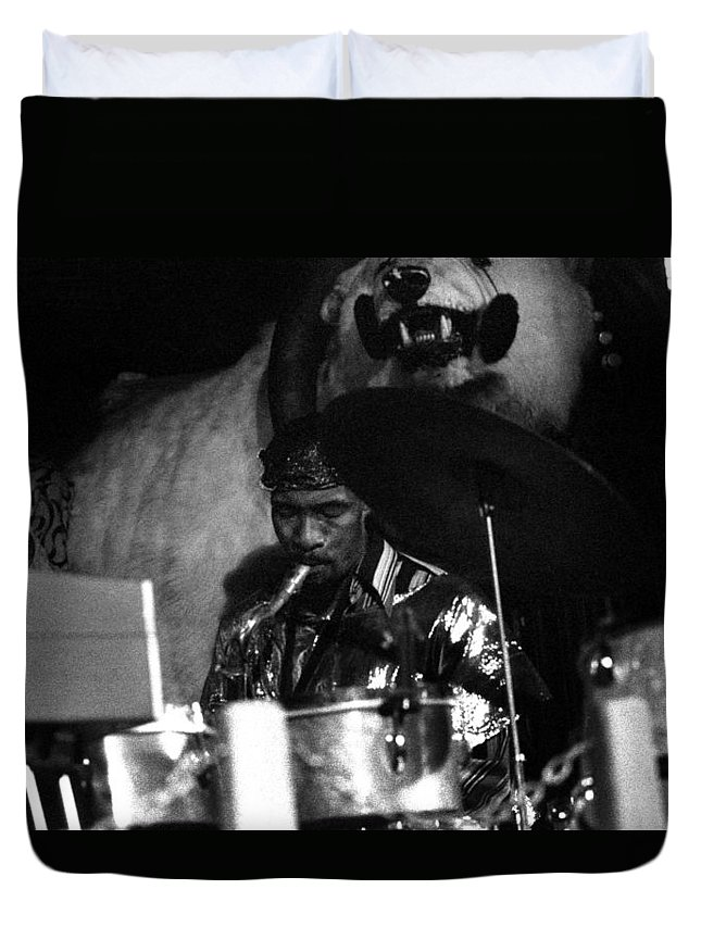 Jazz Duvet Cover featuring the photograph John Gilmore At The Red Garter 1970 Nyc by Lee Santa
