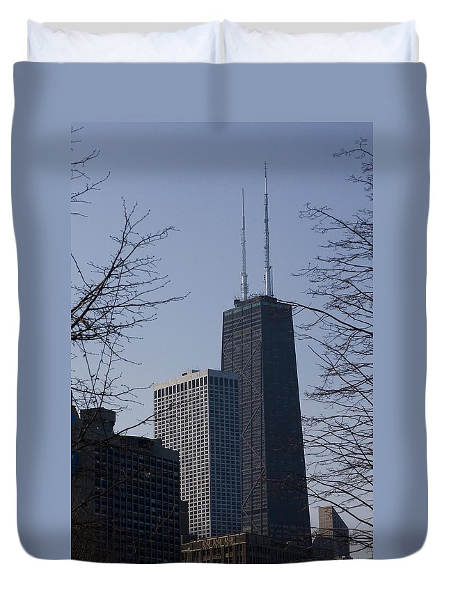 John Hancock Center Building Tower Chicago Windy City Tall Skyscraper High Urban Metro Duvet Cover featuring the photograph John Hancock Center by Andrei Shliakhau